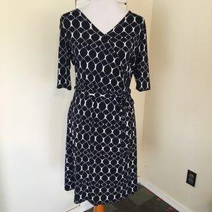 Gilli Stitchfix Navy Geometric Faux Wrap Dress